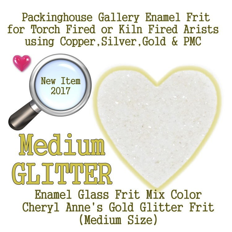 Gold Enamel Glitter Frit, Medium Size Frit, Enamel Frit, Glass Frit, for Copper, Gold, Silver, PMC. Thompson Enamel, Packinghouse Gallery